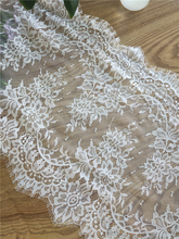3 meters long off white eyelash embroidery bridal lace trim, wedding veil fabric for shrug DIY craft accessories 55cm