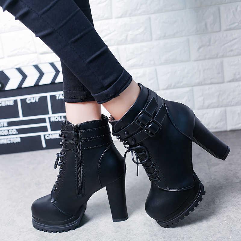 Bota feminina de renda e dedo do pé redondo, bota curta para mulheres, moda outono 2019