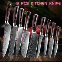 9pcs/set Kitchen Knife Set Damascus Laser Pattern Stainless Steel Japanese Knives Santoku Slicing Chef Meat Cleaver Knife Gift