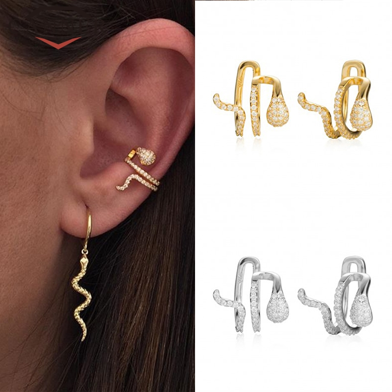 1 Pcs 925 Sterling Silver Clip Earrings Female Fashion Ins Double Ear Clip Fun Animal Snake Zircon No Ear Hole Ear Cuff