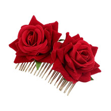 Fashion Women Ladies Bridal Flower Hair Comb Wedding jewelry Accessories Red Rose Hairpin Jewelry Y826