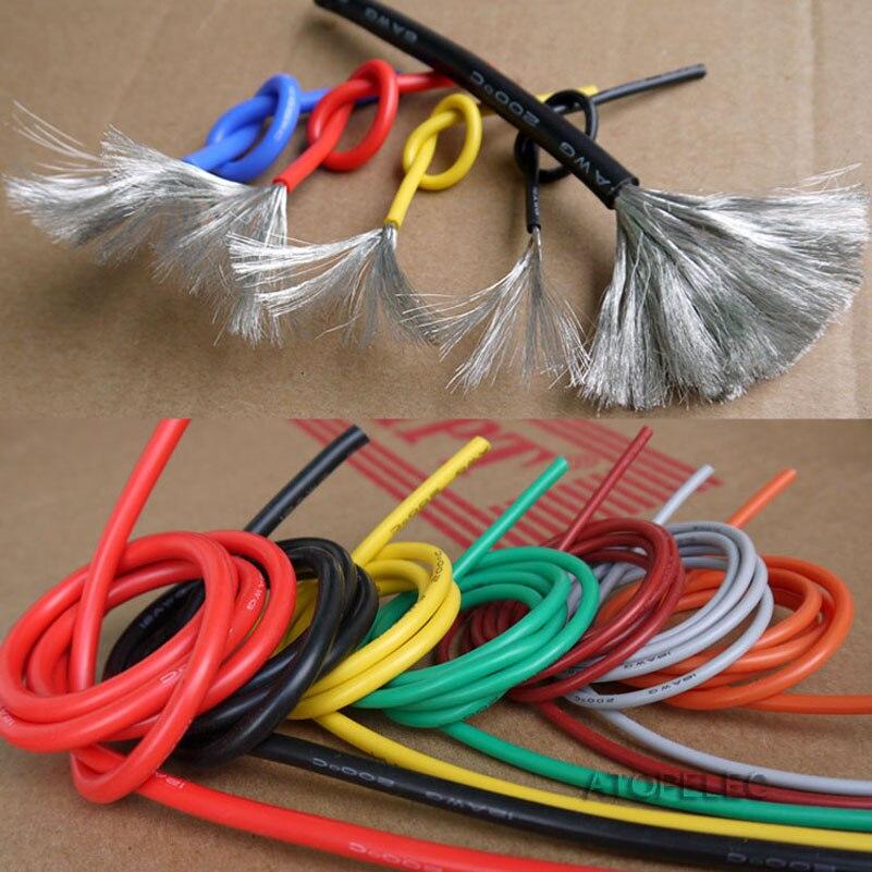 Fio de silicone flexível super macio rc 5 m, cabo de cobre ul 18/20/22/24/26/28/30 awg preto/marrom/vermelho/amarelo/verde/azul/cinza/branco