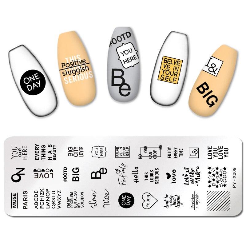 Pict você placas de carimbo de unhas padrões de letra carimbo modelo de aço inoxidável diy stencil ferramentas da arte do prego placa de imagem