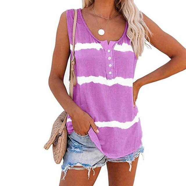 Sleeveless Tie-dye Cotton T Shirt 4