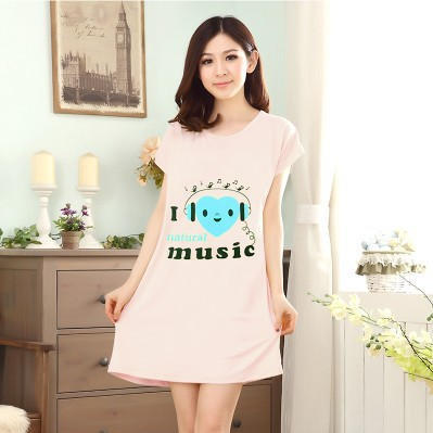 2019 Summer New Style Women's Loose-Fit Students Mid-length Cartoon Cute Nightgown Smiley