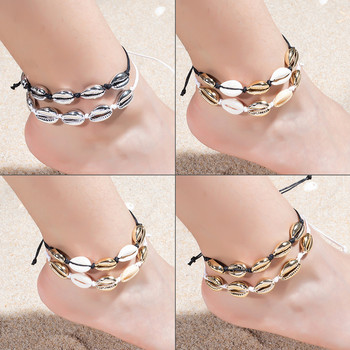 Fashion Anklets For Women Bracelet Shells Foot Jewelry Sea Shell Barefoot On Leg Silver Color Ankle Rope Chain Adjustable Gifts