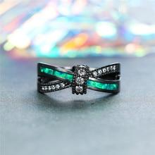 цена Cute Female Crystal Zircon Stone Ring Vintage Black Gold Cross Wedding Rings For Women Promise Green Fire Opal Engagement Ring онлайн в 2017 году