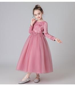 Новое Кружевное платье принцессы 2020 детское платье с длинными рукавами и цветочной вышивкой для девочек, торжественное бальное платье, Дет...