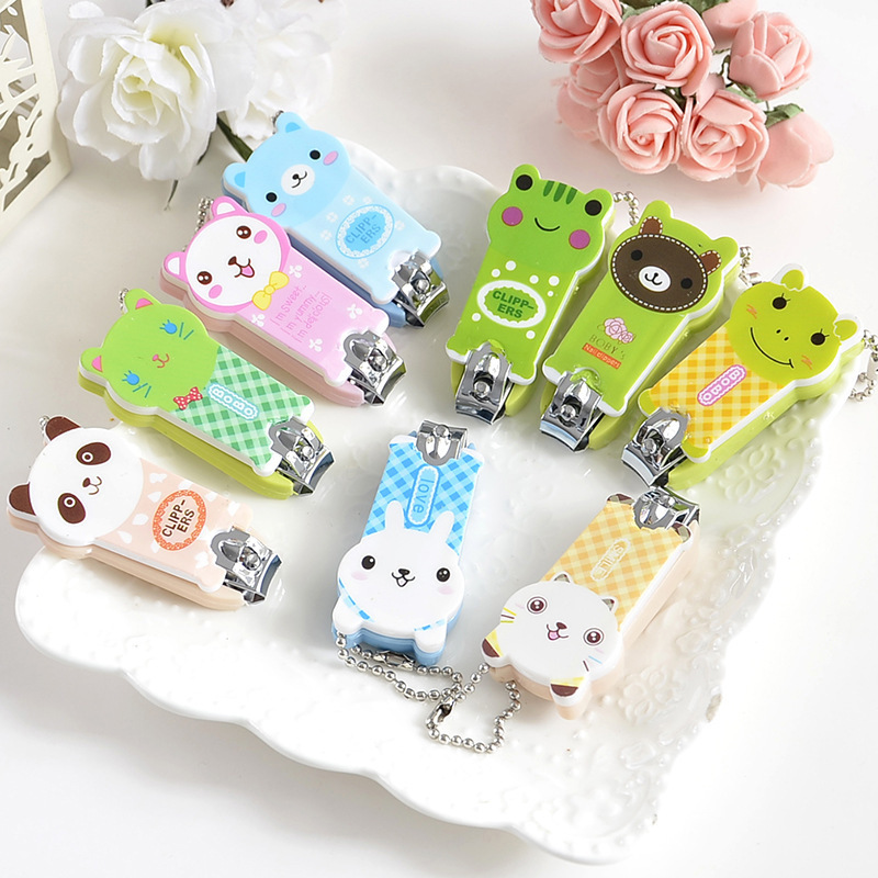 Baby Nail Clipper Cute Cartoon Animal Print Nail Clipper Baby Portable Finger Trimmer Scissors Nail Cutter With Keychain
