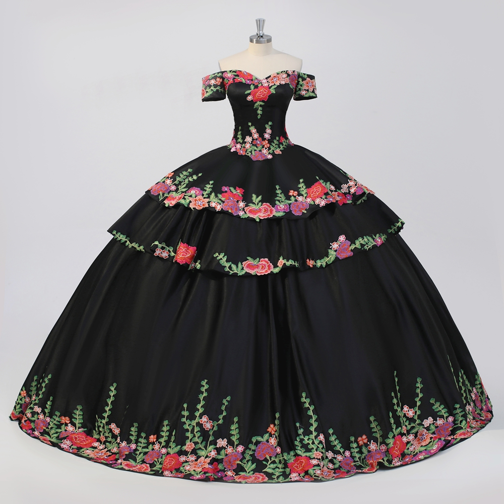 Two Piece Floral Straples Black 2 PCS Quinceanera Dress Special Occasion Quince Ball gown Sweet 16 vestidos 15 anos image