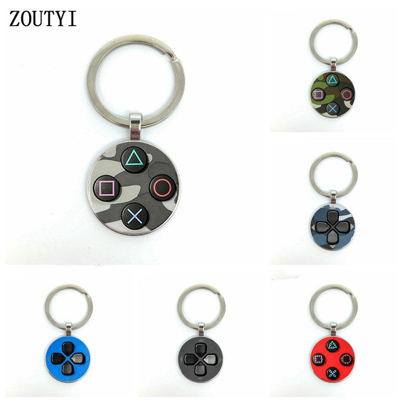 New/Game Button Playstation Game Controller Picture, Men's And Women's Keychain Premium Car Keychain And Convex Glass Keychain.
