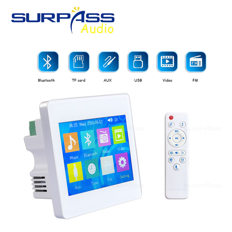 Home Audio System,Music System,Ceiling Speaker PA System,Bluetooth Digital Stereo Amplifier, On Wall Amplifier Touch Display