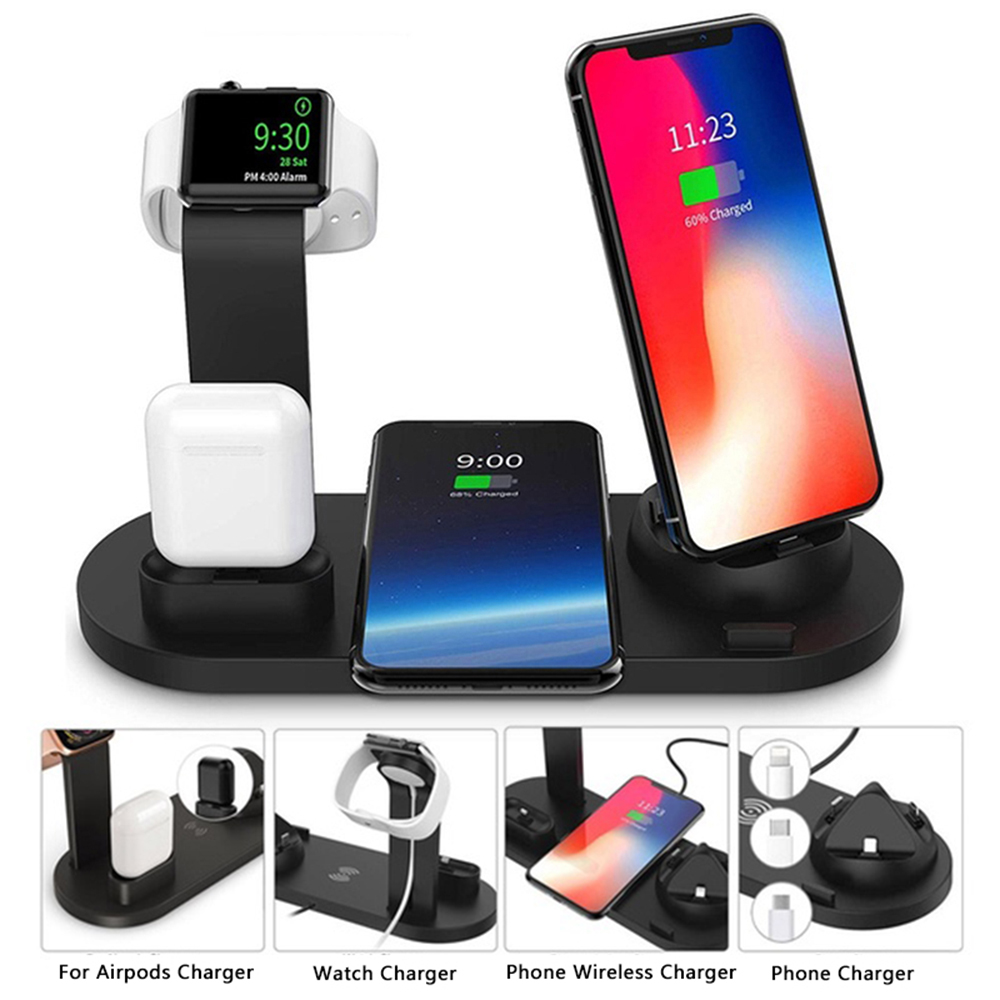 Dock-Station Airpods Fast-Charging Apple iPhone Xr Wireless-Charger Watch-2-3-4 Qi 10W