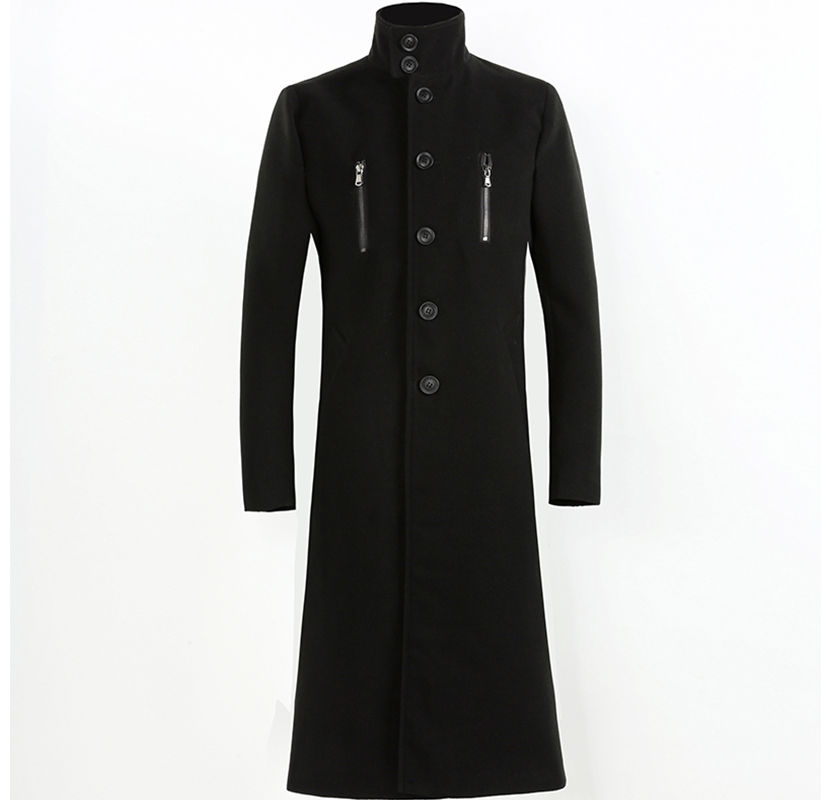 2020 autumn and winter new men's woolen coat 4XL large size slim long trench coat fashion slim wild men's jacket