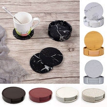6Pcs PU Leather Coaster Set Imitation Marble Round Coaster Table Placemats Drink Coffee Cup Mat Easy to Clean Tea Holder Pad