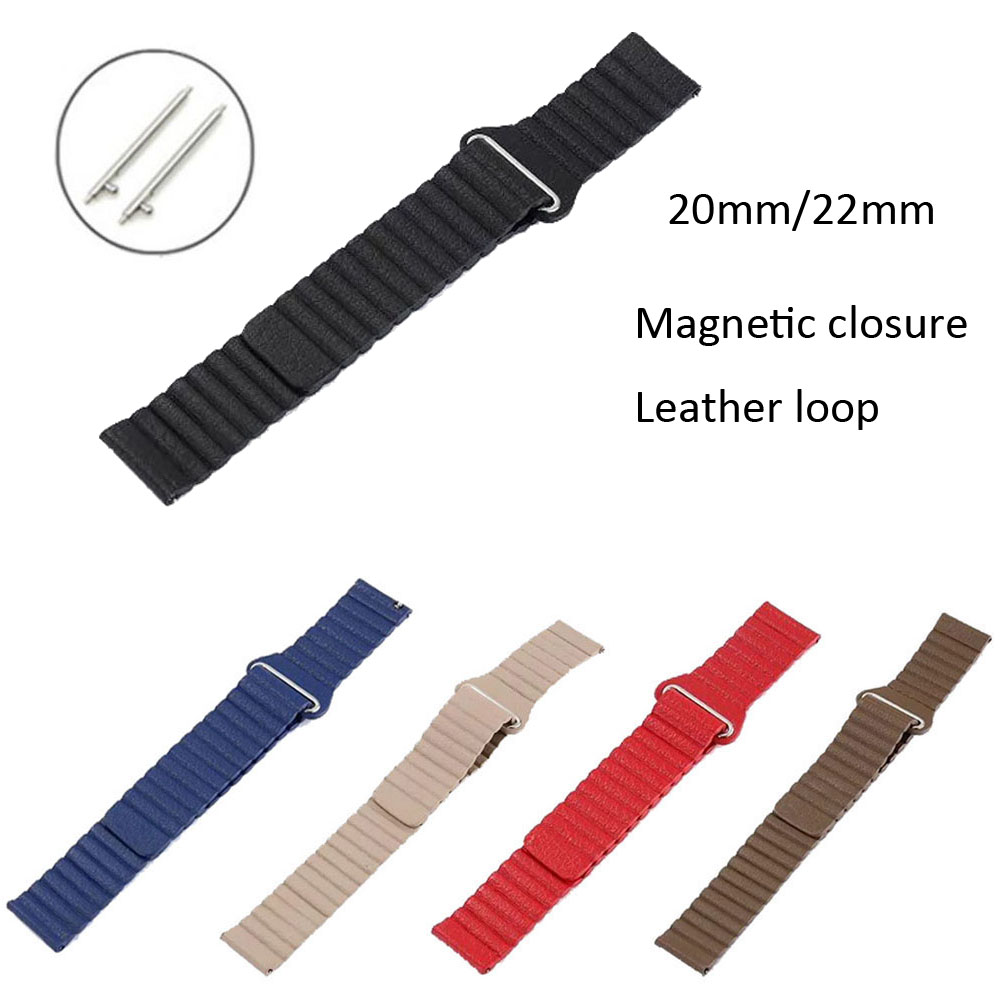 20 22mm Leather Loop Strap For Samsung Galaxy Watch 46mm 42mm Band Gear S3 Frontier Classic Magnetic Closure Leather Watchband
