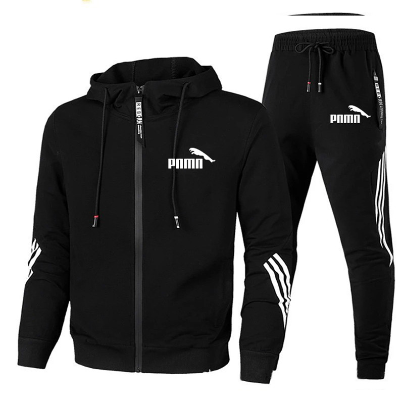 2020 erkekler seti fermuar Hoodies + pantolon setleri erkek eşofman erkek rahat moda Slim Fit spor erkek marka eşofman giyim