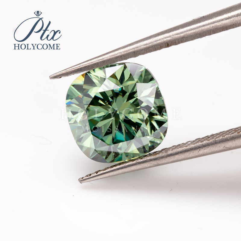 7x7mm VVS1 cushion cut green moissanite gemstone 2020news accept customized wholwsale top quality for jewlery making free