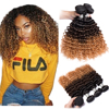 Ombre Deep Wave Bundles Maxine Remy 1b427# Deep Curly Human Hair Bundles Ombre Brown Blonde Brazilian Hair Weave Bundles Deal