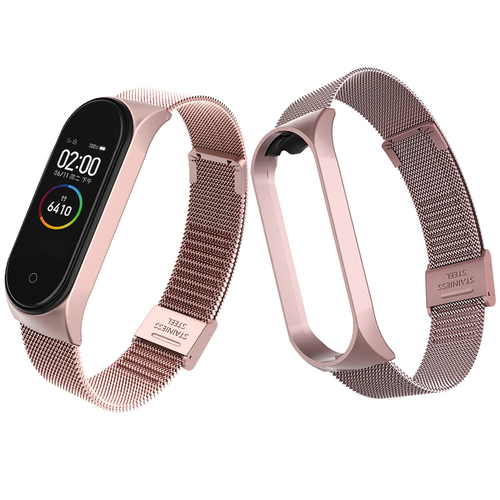 Pulseiras Strap For Xiaomi Mi Band 3 4 Cute Pink Metal Bracelet Screwless Stainless Steel Wristband For Mi Band 4 3