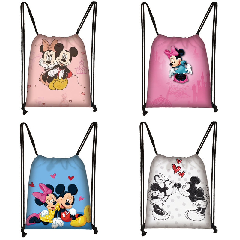 Mickey Minnie Print Drawstring Bag Women Travel Bag Teenager School Bag Brown Girl And Boy Backpack Fashion Female Storage Bag O
