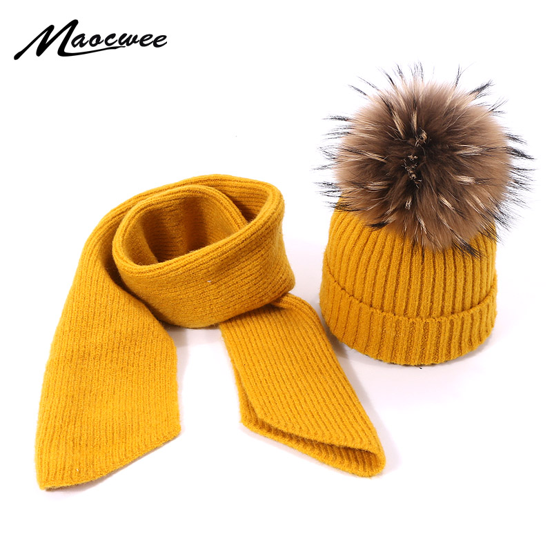 Children Winter Real Fur Pompon Hat Scarf Set For Boys Girls Knitted Cotton Hat Scarf 2 Pieces Baby  Accessories Kids Gift Set