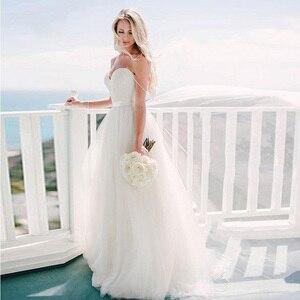 Image 2 - Verngo A ラインのウェディングドレスシンプルなチュール夏の花嫁のドレスビーチウェディングドレスエレガントなロングドレスローブデのみ