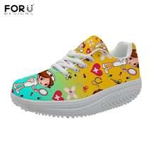 Forudesigns/Милая женская обувь на платформе с рисунком медсестры;
