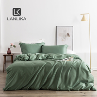 Lanlika Green 100% Silk Bedding Set Nature 25 Momme Silk Healthy Duvet Cover Set Bedspread Home Textile Queen King Bed Linen