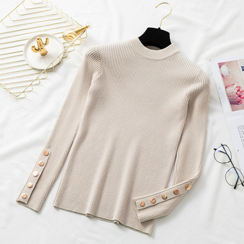 Ailegogo 2020 Stylish Women's Sweaters O-Neck Bottoming Button Knitted Pullover Tops Korean Style Solid Color 3
