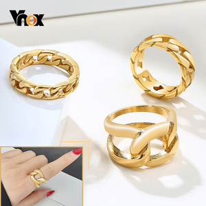 Vnox 6/7/14mm Fixed Chain Shaped Ring for Women Gold Tone Stainless Steel Finger Band Chic Punk Mechanical Links Jewelry