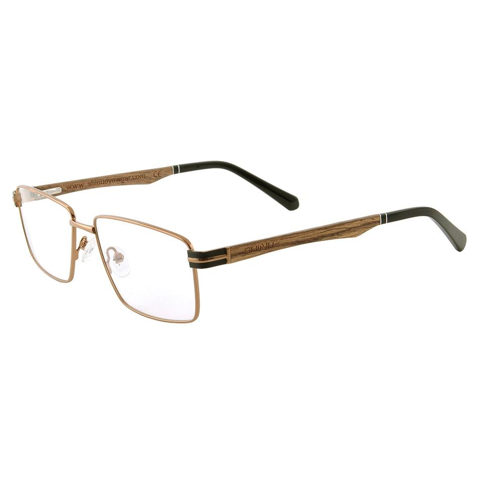 SHINU wood glasses frame retro metal eyeglasses handmade wooden fashion eyewear for men women myopia Rx able customized glasses