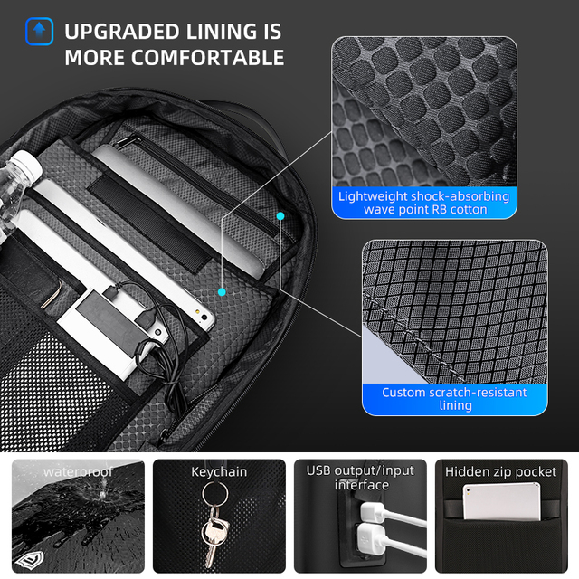 Fenruien Multifunction Men's Backpack 17.3 Inch Laptop Backpacks Anti-Theft Waterproof Business Backpacks Travel Bags 2020 New 5