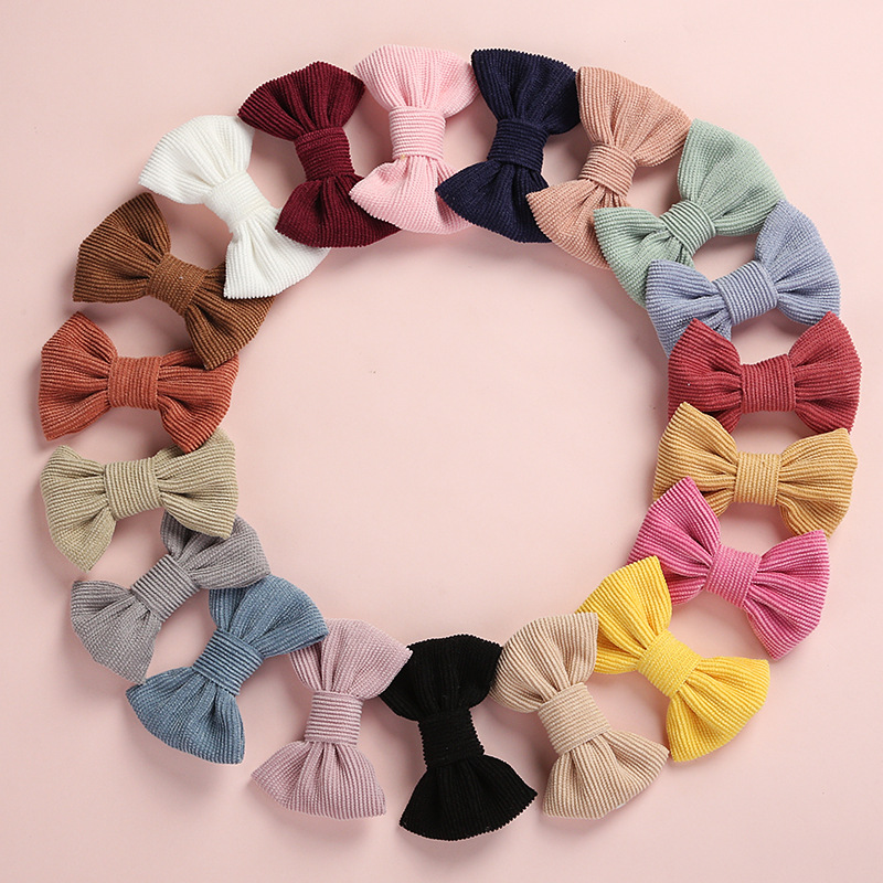 Image 4 - 20 pcs/lot, Corduroy Fabric Bow Nylon Headbands or hair clips, Photography Prop baby shower gift-in Hair Accessories from Mother & Kids