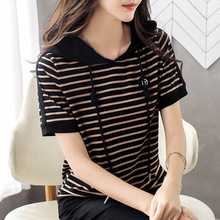 Women's Short Sleeve 2020 New Large Size Loose Striped Hooded T Shirts Summer T-shirt Tops Tee Fashion Clothes For Ladies AE0008