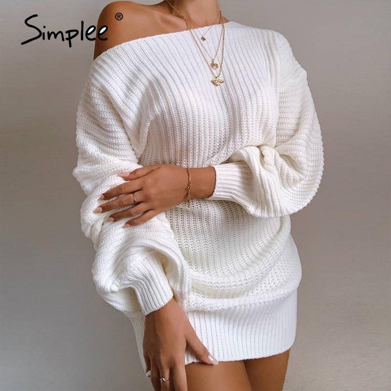 Simplee Sexy off shoulder women's dress White lantern sleeve casual dress Nightclub dress Street style autumn winter 2020 new