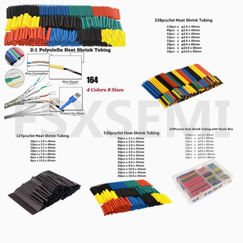 Heat Shrink Tube Kit Shrinking Assorted Polyolefin Insulation Sleeving Heat Shrink Tubing Wire Cable 2:1