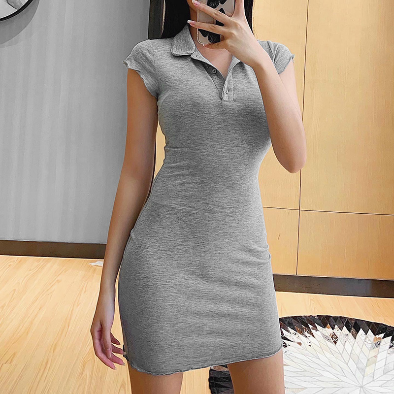 Fashion Women Short Sleeve Lapel Dress Fashion Buttons Solid Color Dress for Shopping Daily Wear