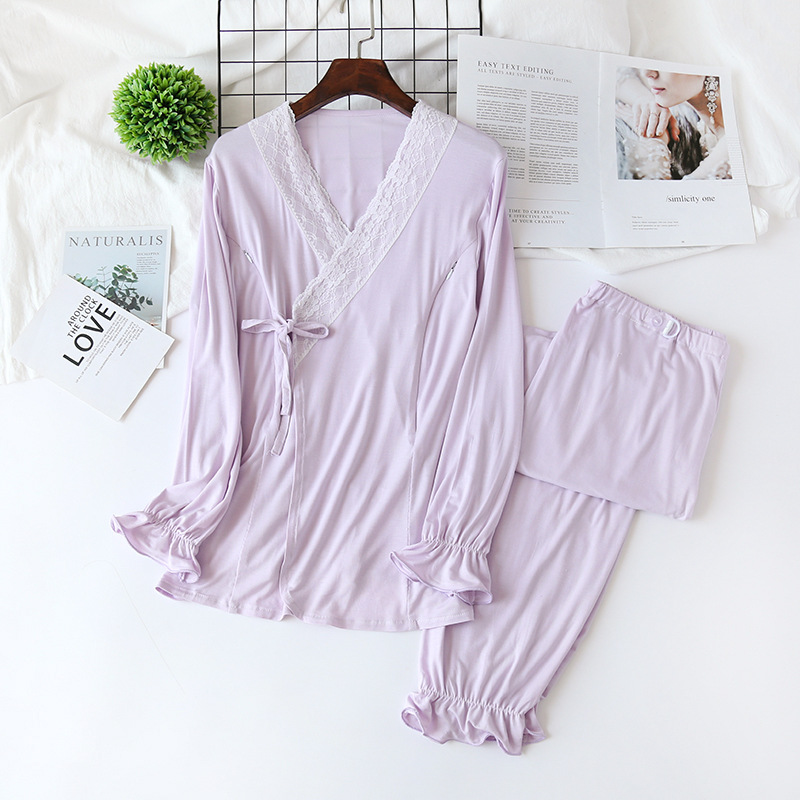 2 pcs set modal maternidade sleepwear conjunto 04