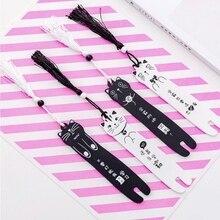 Прекрасный мультфильм кошка деревянные закладки книги креативный черный белый цветная Закладка книжка с кисточкой страница канцелярские принадлежности для студентов подарок