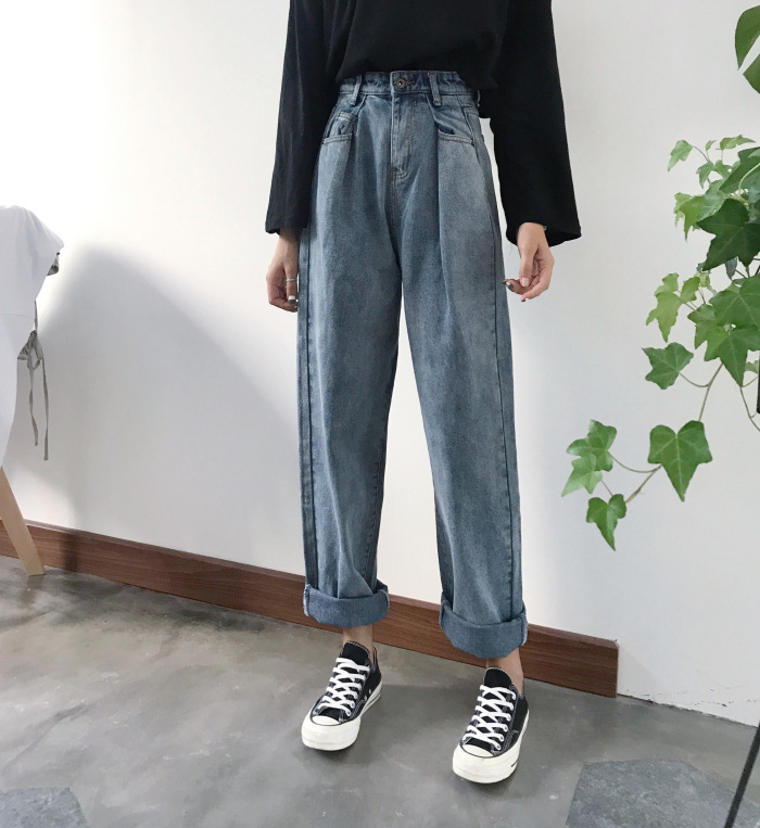 plus size loose vintage woman jeans 2020 autumn bleached casual boyfriend curl denim wide leg pants oversize high waist jean title=