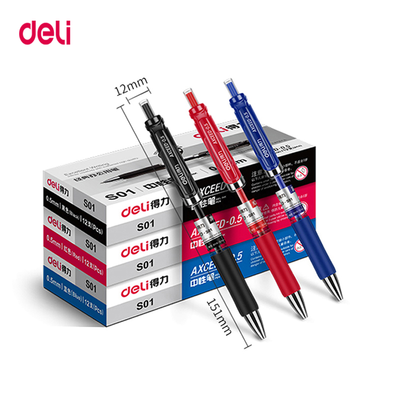 Deli Gel Pen 3 Pcs 0.5mm Office Supplies Stationery Gel Pens For Students Writing Black Red Blue High Quality Gel Pen Refills