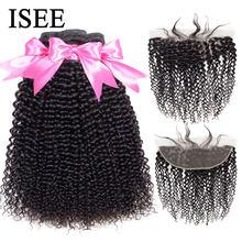 ISEE saç moğol Kinky kıvırcık demetleri ile Frontal ile 13*4 dantel Frontal saç demetleri Remy İnsan saç demetleri kapatma ile