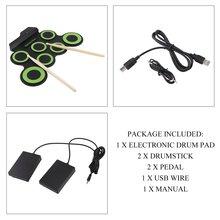 Портативный электронный барабан цифровой USB 7 подушечек рулонный барабанный набор силиконовый Электрический барабанный коврик комплект с барабанными палочками ножная педаль G3002A