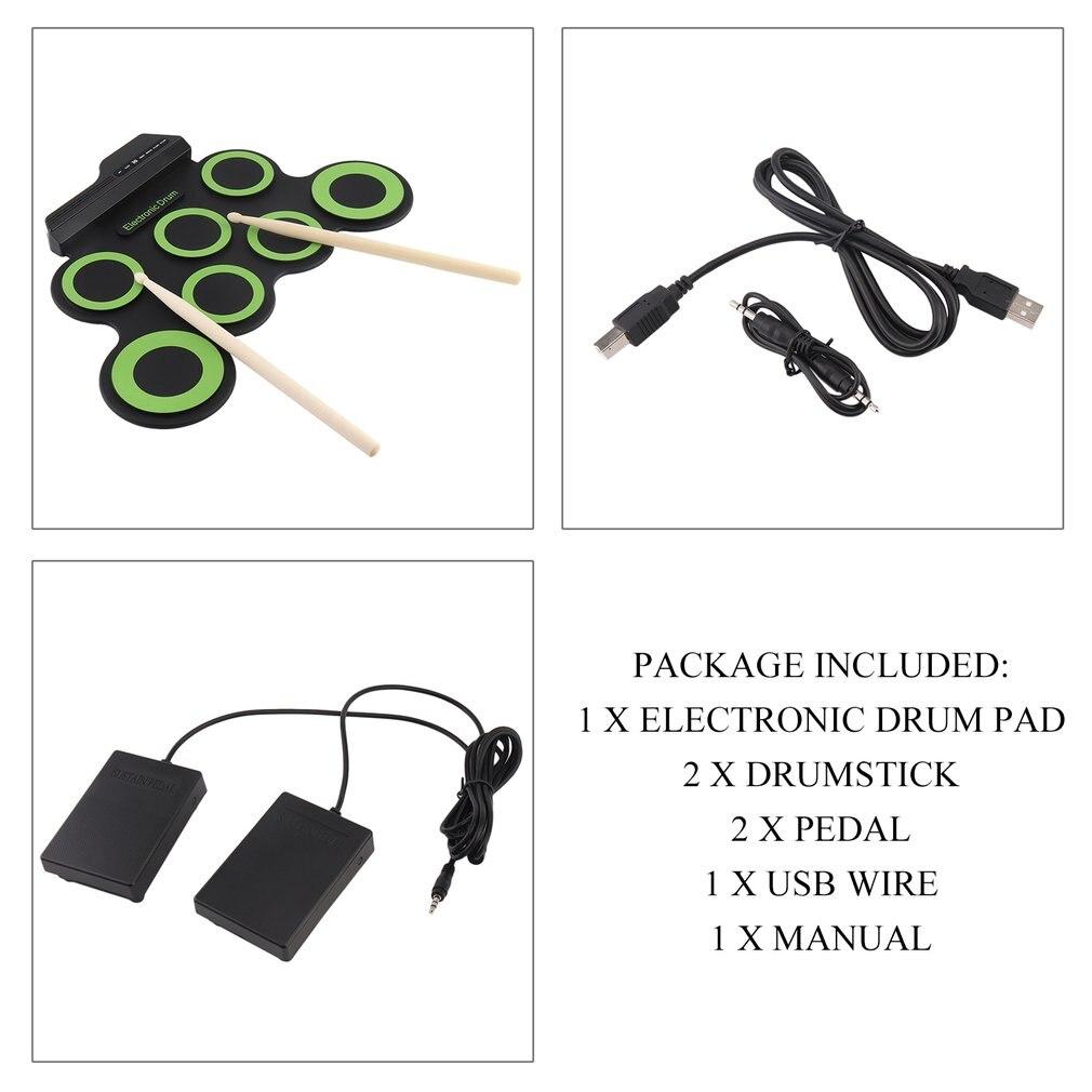 Taşınabilir Elektronik Davul Dijital USB 7 Pedleri Roll Up Davul Seti Silikon Elektrikli Davul Pad Seti DrumSticks Ile Ayak Pedalı G3002A