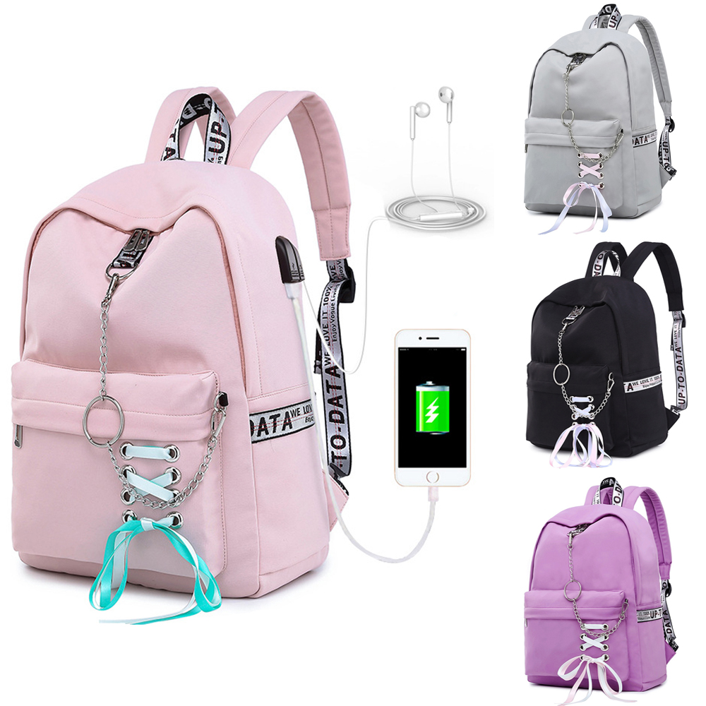 Fashion <font><b>Waterproof</b></font> Women <font><b>Backpack</b></font> <font><b>with</b></font> <font><b>USB</b></font> <font><b>Charging</b></font> <font><b>Port</b></font> School Bags For Boys Girls Travel Laptop Rucksack Bookbags image