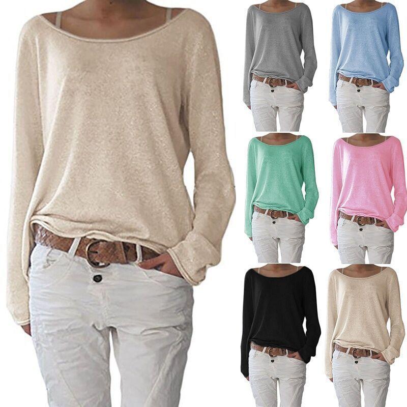Повседневные свободные женские Топы с длинным рукавом, футболка, однотонные топы, женская одежда, футболка, модный базовый топ на лето, весн...