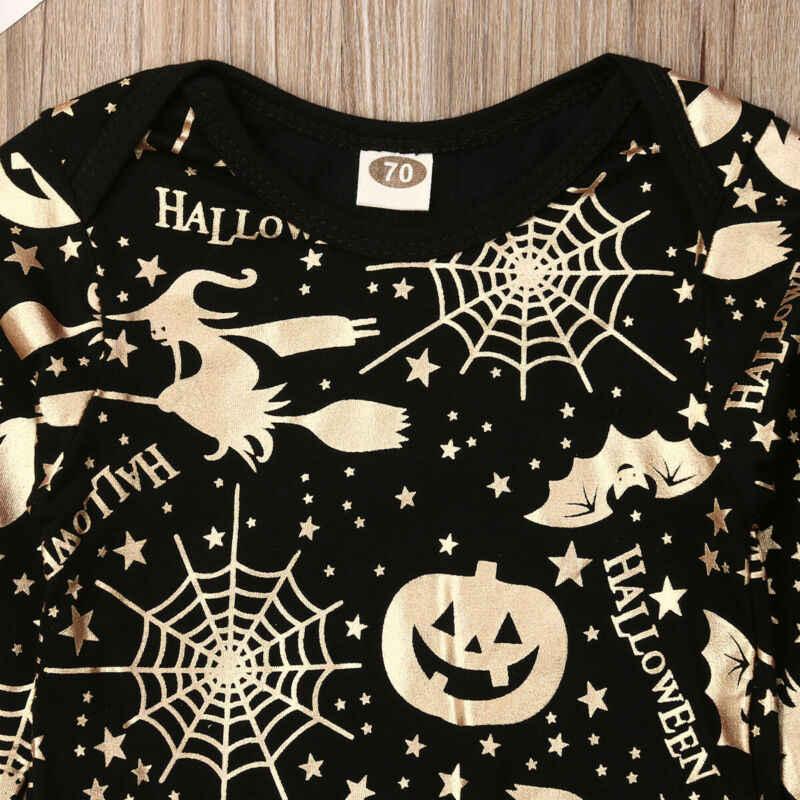 Коллекция 2019 года, весенне-осенняя одежда для малышей Хэллоуин, боди с длинными рукавами и золотым принтом для новорожденных мальчиков и девочек, одежда с тыквой, комплект