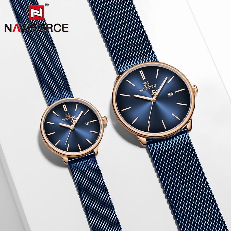 Couple Watch NAVIFORCE Mens Watch Simple Luxury Quartz Wristwatch Women Clock For Male Female Waterproof Lovers Thin Watch 2020