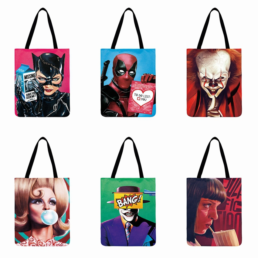 Super Cool Poster Printed Tote Bag Movie Character Casual Tote Women Shoulder Bag Foldable Shopping Bag Reusable Beach Bag